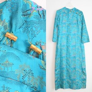 🎏 Vintage Teal Blue Asian Print Kimono Dress